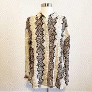 MNG Suit Snakeskin Collared Shirt, size 6